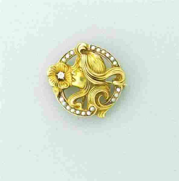 Art Nouveau 14k Gold Diamond Pearl Pendant Brooch Pin