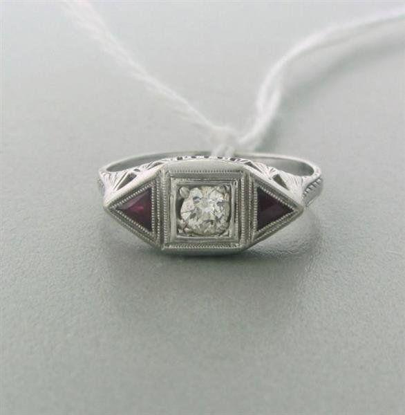 Art Deco 18k Gold 0.20ct Old Mine Diamond Ring