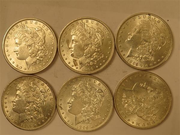 US 1896 Morgan Silver Dollar Coin Lot of 6