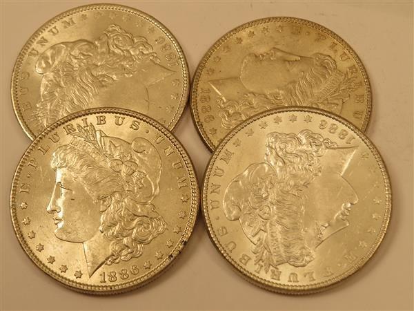US 1886 Morgan Silver Dollar Coin Lot of 4