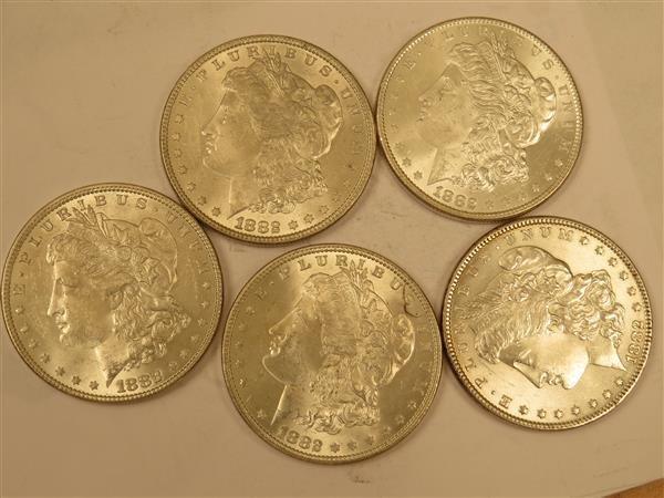 US 1882 Morgan Silver Dollar Coin Lot of 5