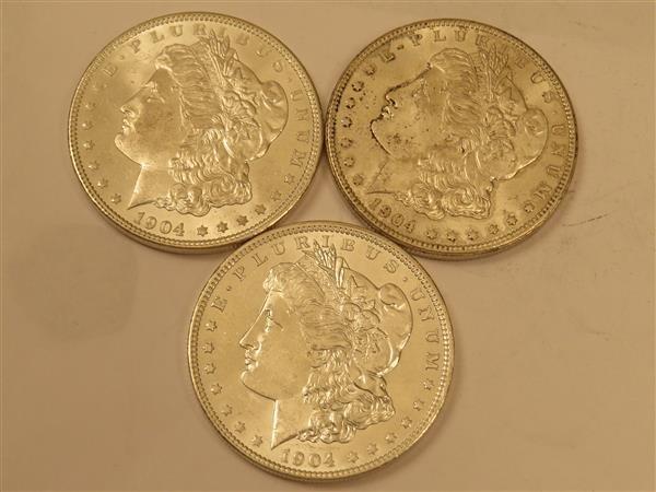 US 1904 O Morgan Silver Dollar Coin Lot of 3
