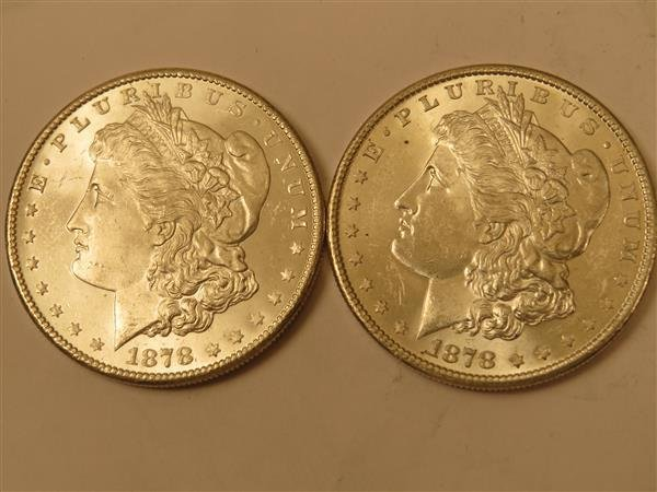 US 1878 S Morgan Silver Dollar Coin Lot of 2