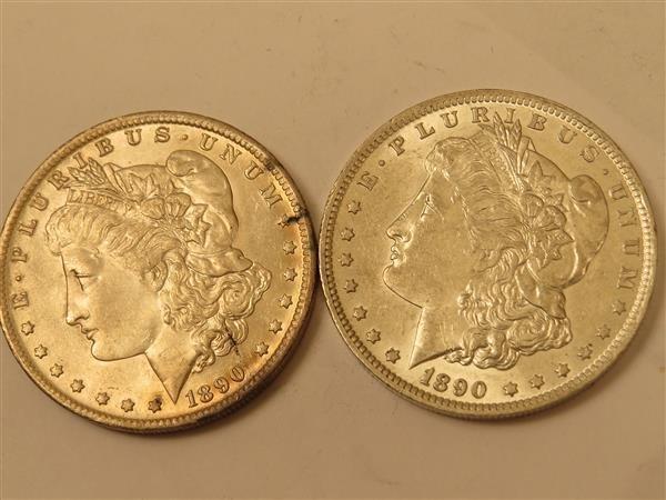 US 1890 O Morgan Silver Dollar Coin Lot of 2
