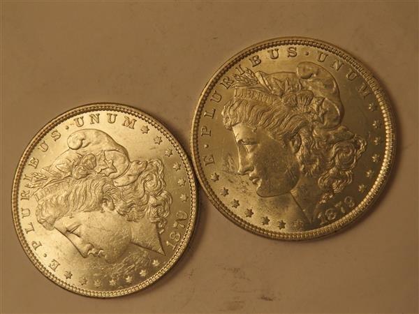 US 1879 Morgan Silver Dollar Coin Lot of 2