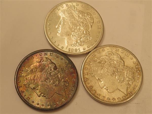 US 1881 S Morgan Silver Dollar Coin Lot of 3