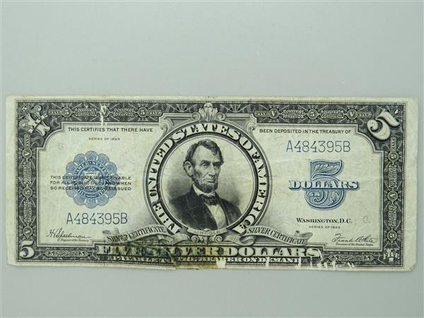 US 1923 Silver Certificate Five Dollar Bill