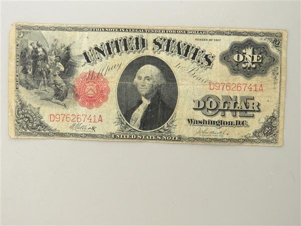 US 1917 Legal Tender Red Seal One Dollar Bill Note