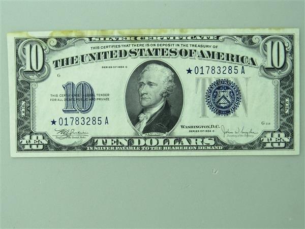 US 1934 C Star Note Silver Certificate Ten Dollar Bill