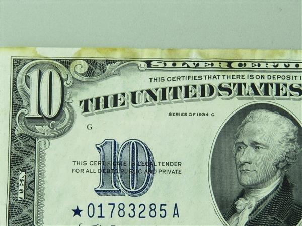 US 1934 C Star Note Silver Certificate Ten Dollar Bill - 2