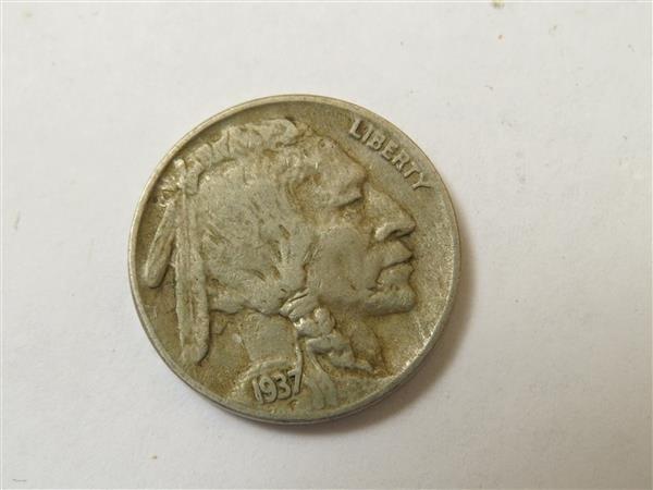 US 1937 D 3 Legged Buffalo Nickel Coin RARE