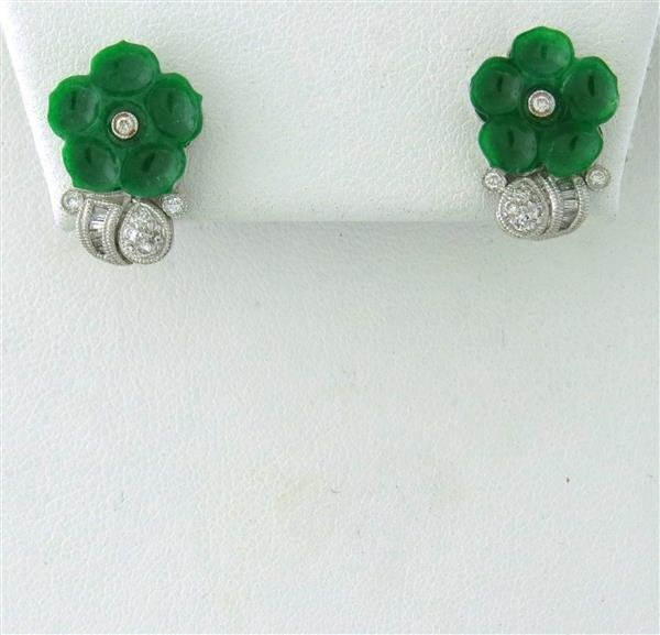 Estate 18k Gold Diamond Carved Jade Flower Earrings