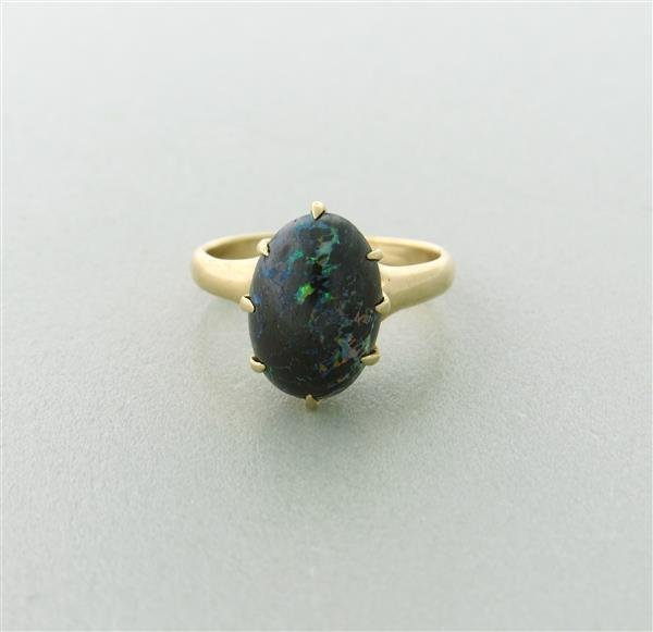 Antique Victorian  14k Gold Black Opal Ring