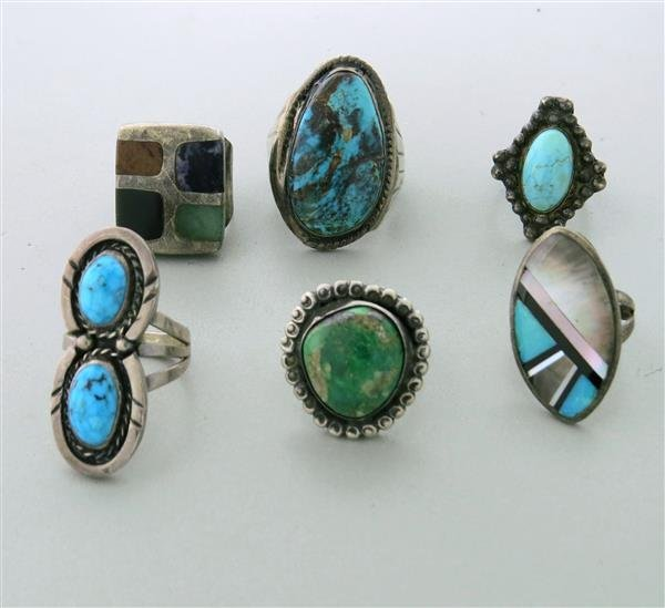 Sterling Silver Gemstone Ring Lot of 6