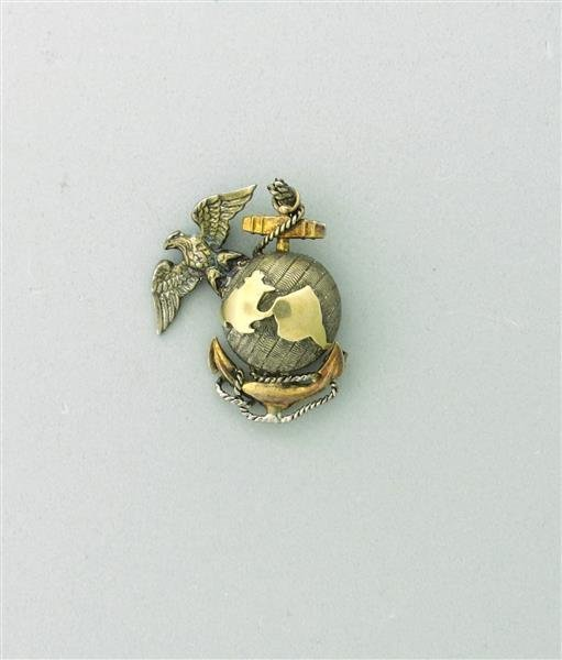 USMC 10k Gold Sterling Earlge Anchor Globe Brooch Pin