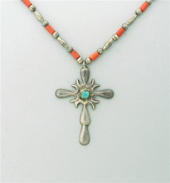 Estate Sand Casted Sterling Turquoise Coral Cross
