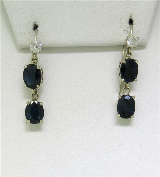 Estate 14k Gold Diamond Sapphire Drop Earrings