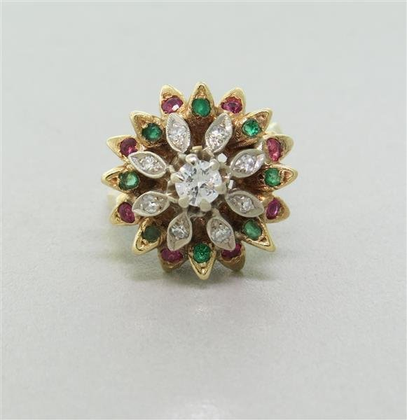 Esate 14k Gold Diamond Emerald Ruby Cocktail Ring