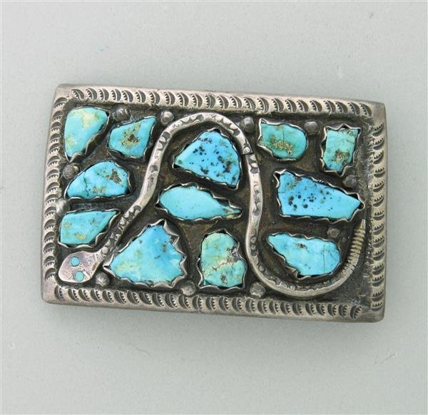 Estate Vintage Sterling Turquoise Belt Buckle