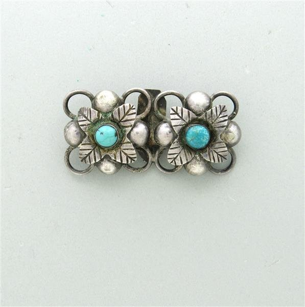 Taxco Mexico Sterling Turquoise Brooch Pin