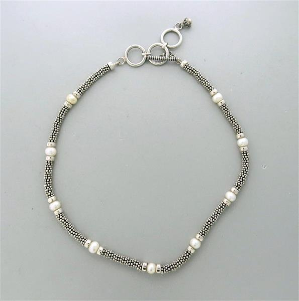 Sterling Silver Pearl Toggle Necklace