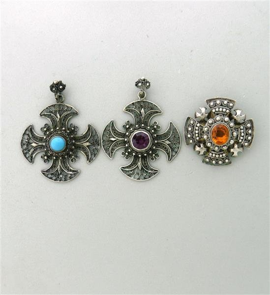 Estate Sterling Gemstone Cross Pendant Brooch Lot of 3