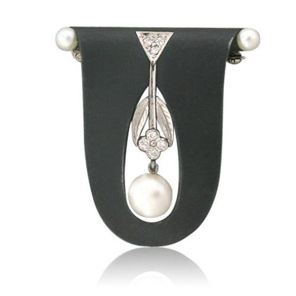 Marsh & Co 14k Steel Diamond Pearl Brooch Pin