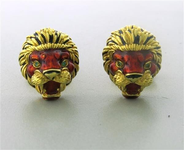 Estate 18k Gold Enamel Lion Head Cufflink Set