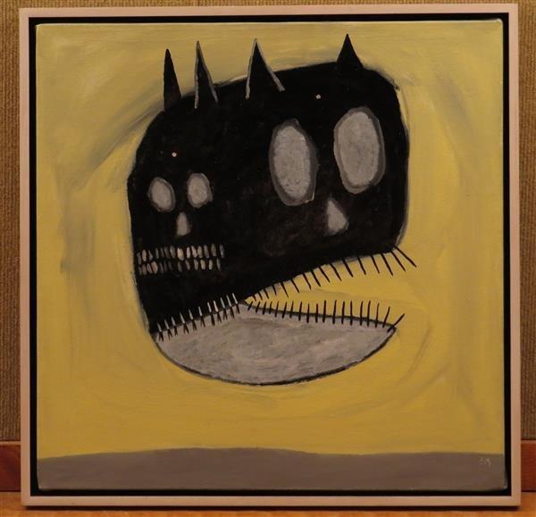 Gregory Van Maanen Cat Devid Head Oil Enamel on Canvas
