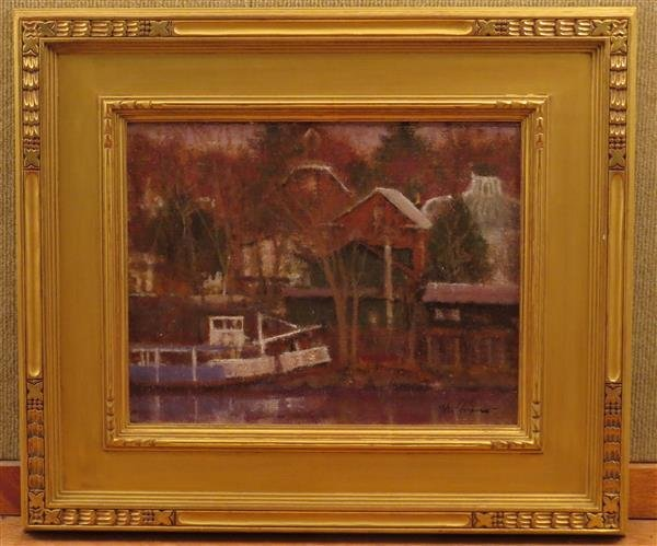Anthony Michael Autorino ,River Boat, Oil on Canvas