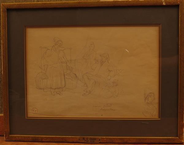 A.C.Colin (1798-1856) Province Zeeland,Pencil on Peper