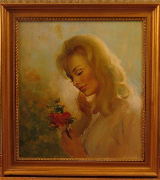 Harry Ekman (1923-1999) Young Woman Holding a Flower,