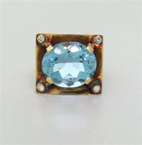 Estate 14k gold Diamond Blue Gemstone Ring