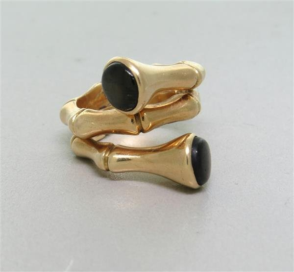 Vintage 1960s 14k Gold Black Sapphire Bamboo Ring