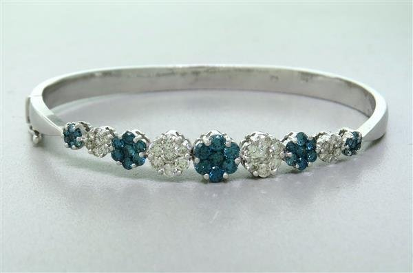 Estate 14k Gold White Blue Diamond Bangle Bracelet