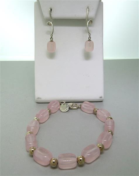 Tiffany & Co Sterling Silver Pink Gemstone Bracelet