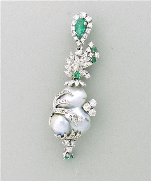 Estate 18k Gold Diamond Emerald Pearl Brooch Pin