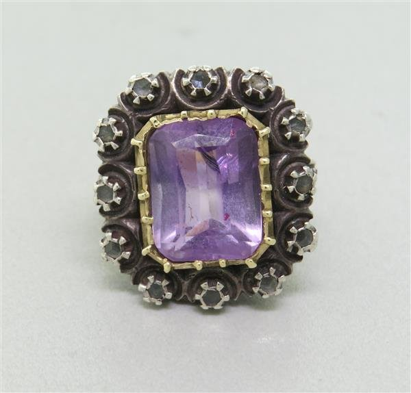 Antique Gold  and Silver Amethyst Rose Cut Diamond Ring