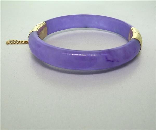 14k Gold Lavender Jade Bangle Bracelet