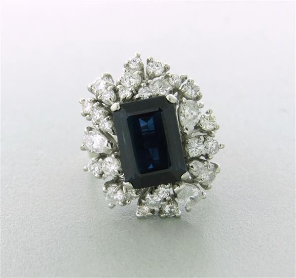1960's 10k Gold Sapphire 1.5 to 1.7ctw Diamond