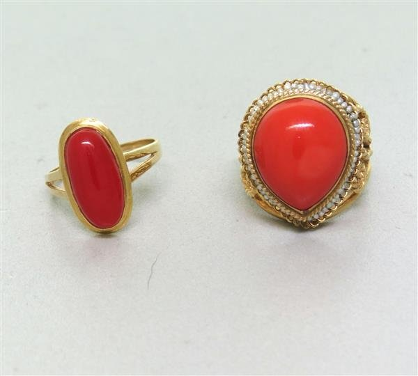 Estate 14k Gold Coral Seed Pearl Ring Lot of 2