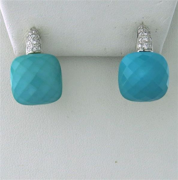18k Gold Diamond Turquoise Earrings