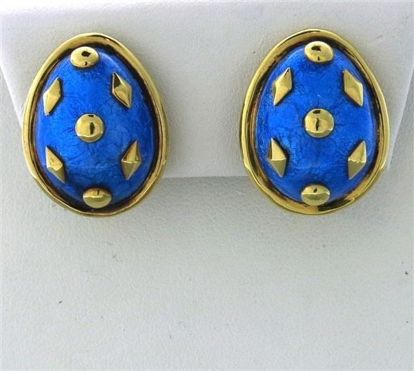 Tiffany & Co Schlumberger 18k Gold Blue Enamel