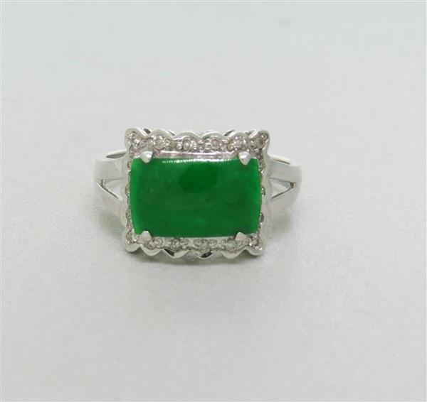 Estate 18k Gold Jade Diamond Ring