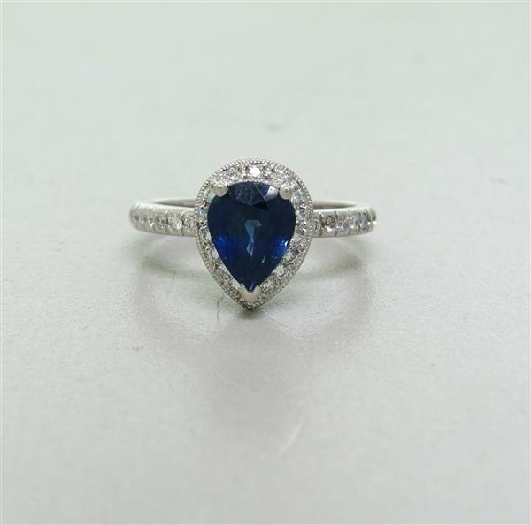 Estate Platinum Sapphire Diamond Ring