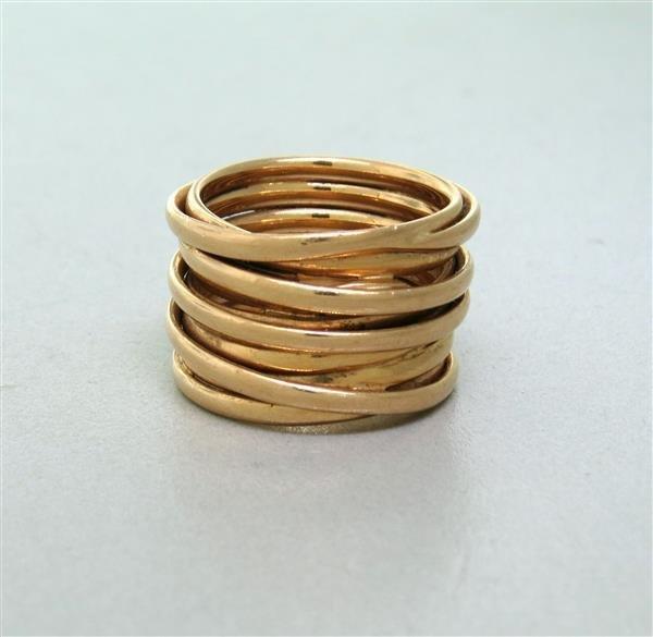 Mattioli 18k Gold 14.2mm Multi Row Band Ring