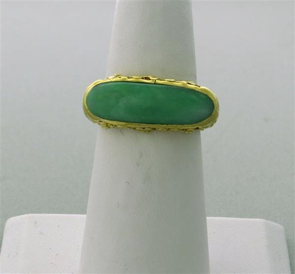 Antique 22K Gold Jade Ring - 2