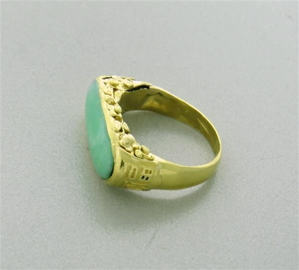 Antique 22K Gold Jade Ring - 4