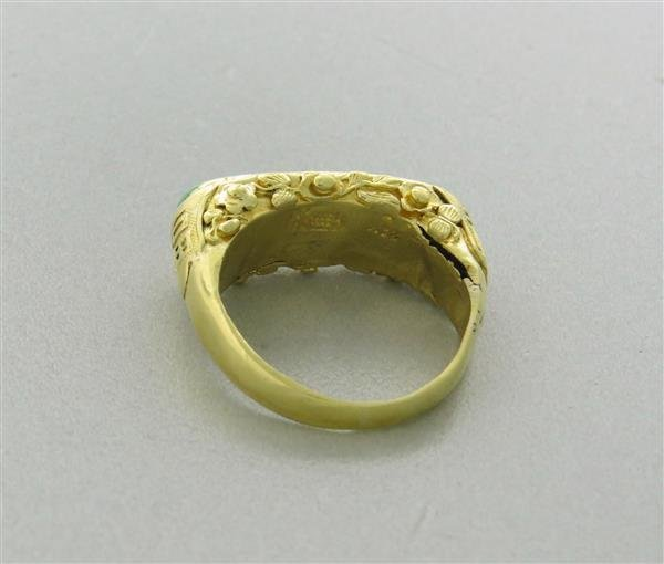 Antique 22K Gold Jade Ring - 5
