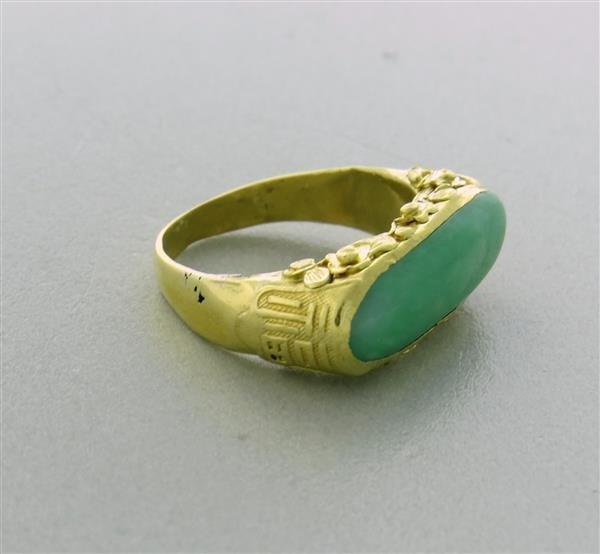 Antique 22K Gold Jade Ring - 6